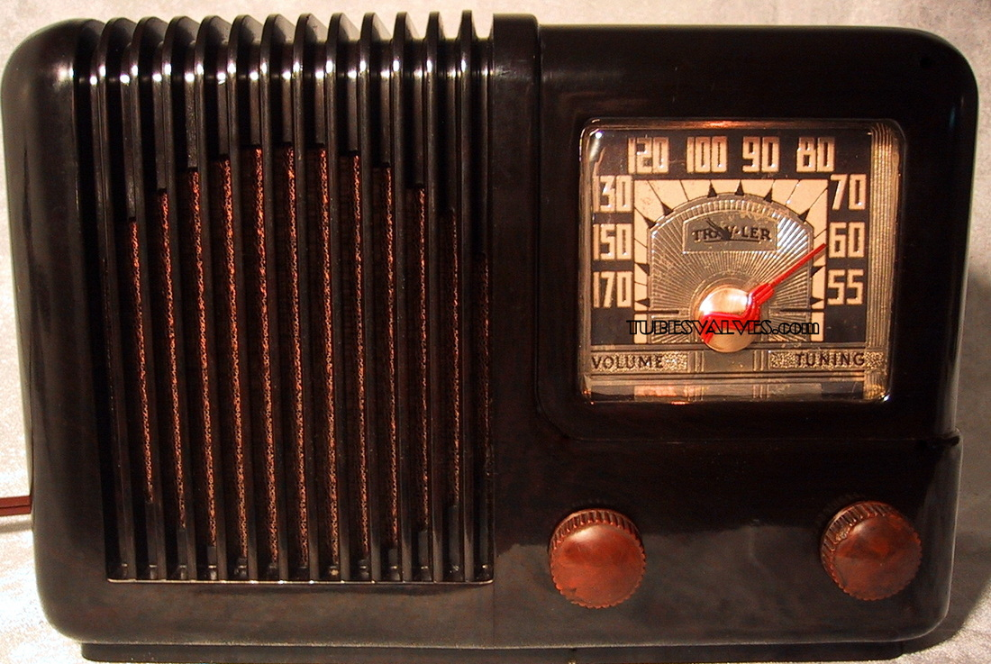 travler,trav-ler tube radio,model 5002,tubesvalves.com,valve wireless,bakelite