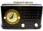 telechron radio,clock,model 8h59,tubesvalves.com,wireless,valve,bakelite,