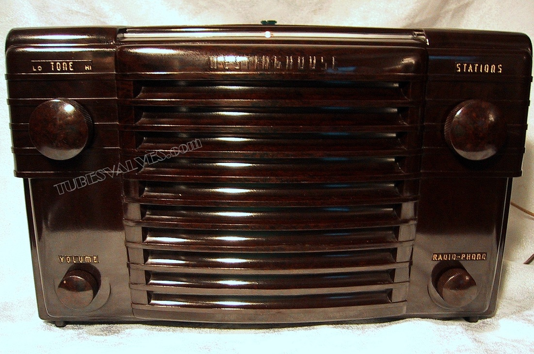 westinghouse,h-122-a,tubesvalves.com,tube valve radio,wireless,bakelite,1946,