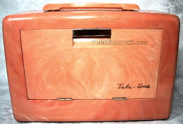 Tele-tone tube 156 radio,tubesvalves.com,swirly marbled case,wireless,valve,1948,